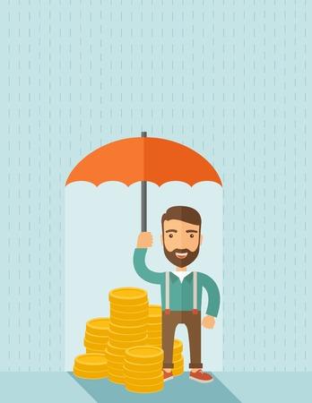 protección: Un hombre de negocios con la celebraci�n de la barba de pie paraguas protegiendo su dinero para inversiones, gesti�n de riesgos dinero. Ahorrar dinero para cualquier problema tormenta vendr�. Estilo contempor�neo del asunto concept.A con la paleta de colores pastel suave de fondo pintado de azul. Plana Vector