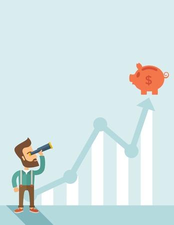 Ein Mann, der mit Fernrohr zu sehen, die Grafik und Sparschwein auf der Spitze des Pfeils, ist es ein Zeichen des Fortschritts ein Business-Umsatz steigt. Wachsende Business-Konzept. Eine zeitgemäßen Stil mit Pastellpalette weichen blauen getönten Hintergrund. Vector Flach d Vektorgrafik