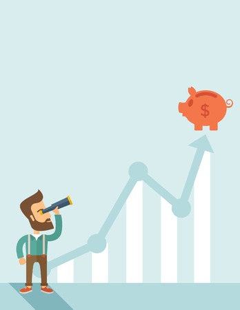 A man standing using telescope to see the graph and piggy bank is on the top of the arrow, it is a sign of progress a business sales is going up. Growing business concept. A contemporary style with pastel palette soft blue tinted background. Vector flat d Illustration