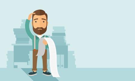 Eine traurige hipster kaukasischen Mann mit Bart Standing halten ein Papier fühlt sich Kopfschmerzen und Sorgen über die Zahlung einer Menge Rechnungen. Problem, Sorgen Konzept. Einem zeitgenössischen Stil mit Pastellpalette weichen blauen getönten Hintergrund. Vector flachen Design, Illustration. Horizo