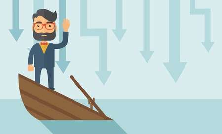 work boat: A sad man with beard wearing eyeglasses standing on a sinking boat with those arrows on his back pointing down symbolize that his business is loosing. He needs help. A contemporary style with pastel palette soft blue tinted background. Vector flat design
