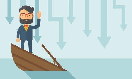 Ein trauriger Mann mit Bart trägt Brille, die auf einem sinkenden Boot mit diesen Pfeilen auf dem Rücken nach unten symbolisieren, dass sein Unternehmen verliert. Er braucht Hilfe. Eine zeitgemäßen Stil mit Pastellpalette weichen blauen getönten Hintergrund. Vector flache Bauform Vektorgrafik