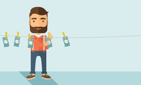 laundering: A businessman with beard standing hanging his money has a financial problem. He enter into money laundering business. Bankruptcy concept.  A contemporary style with pastel palette soft blue tinted background. Vector flat design illustration. Horizontal la