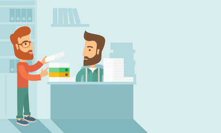 overload: A man giving a paper work to do to other man, stressful man in office with stack of paper on his desk. Business concept in overload work and very busy. A contemporary style with pastel palette soft blue tinted background. Vector flat design illustration.