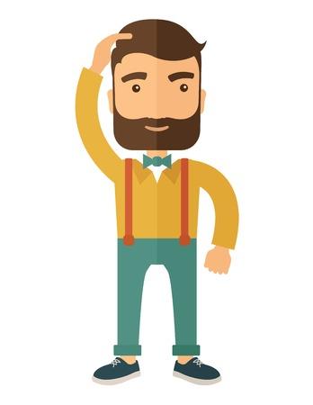 confundido: Un hombre con barba que se coloca con la mano en su cabeza que tiene un problema en los negocios, las dificultades en cómo solucionar su problema. Un estilo contemporáneo. Vector diseño plano ilustración aislado sobre fondo blanco. Disposición vertical.