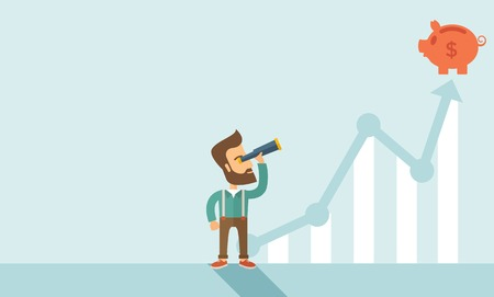 sales graph: A man standing using telescope to see the graph and piggy bank is on the top of the arrow, it is a sign of progress a business sales is going up. Growing business concept. A contemporary style with pastel palette soft blue tinted background. Vector flat d Illustration