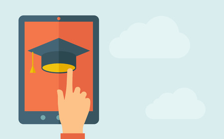 A hand is touching the screen of a tablet with graduation cap icon. A contemporary style with pastel palette, light blue cloudy sky background. Vector flat design illustration. Horizontal layout with text space on right part.