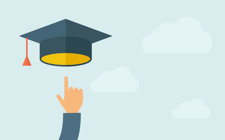 A hand pointing to graduation cap icon. A contemporary style with pastel palette, light blue cloudy sky background. Vector flat design illustration. Horizontal layout with text space on right part. Ilustracja