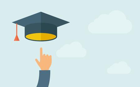 ? ?   ? ?    ? ?   ? ?  ? ?  ? hat: Una mano que señala al icono del casquillo de la graduación. Un estilo contemporáneo con la paleta de colores pastel, azul cielo nublado luz. Vector diseño plano ilustración. Diseño horizontal con espacio de texto en la parte derecha.