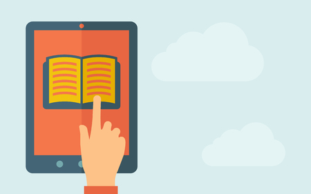 A hand is touching the screen of a tablet with book icon. A contemporary style with pastel palette, light blue cloudy sky background. Vector flat design illustration. Horizontal layout with text space on right part. Illustration