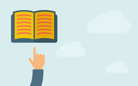 e reading: A hand pointing to book icon. A contemporary style with pastel palette, light blue cloudy sky background. Vector flat design illustration. Horizontal layout with text space on right part.