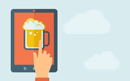 touchpad: A hand is touching the screen of a tablet with beer mug icon. A contemporary style with pastel palette, light blue cloudy sky background. Vector flat design illustration. Horizontal layout with text space on right part. Illustration
