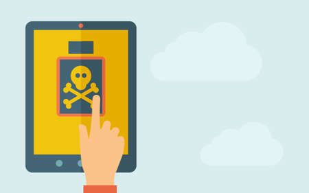 touchpad: A hand is touching the screen of a tablet with poisonous bottle icon. A contemporary style with pastel palette, light blue cloudy sky background. Vector flat design illustration. Horizontal layout with text space on right part.