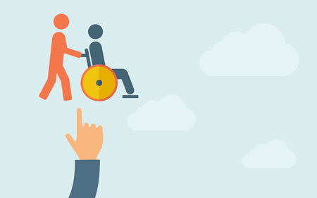 A hand pointing to man push in wheelchair icon. A contemporary style with pastel palette, light blue cloudy sky background. Vector flat design illustration. Horizontal layout with text space on right part. Vectores