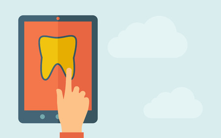 A hand is touching the screen of a tablet with tooth icon. A contemporary style with pastel palette, light blue cloudy sky background. Vector flat design illustration. Horizontal layout with text space on right part.