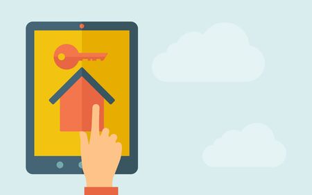 A hand is touching the screen of a tablet with house with key icon. A contemporary style with pastel palette, light blue cloudy sky background. Vector flat design illustration. Horizontal layout with text space on right part.