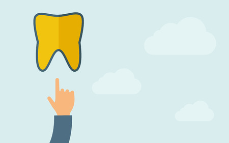 sore: A hand pointing to tooth icon. A contemporary style with pastel palette, light blue cloudy sky background. Vector flat design illustration. Horizontal layout with text space on right part.