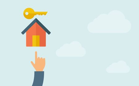 lock and key: A hand pointing to house key icon. A contemporary style with pastel palette, light blue cloudy sky background. Vector flat design illustration. Horizontal layout with text space on right part. Illustration