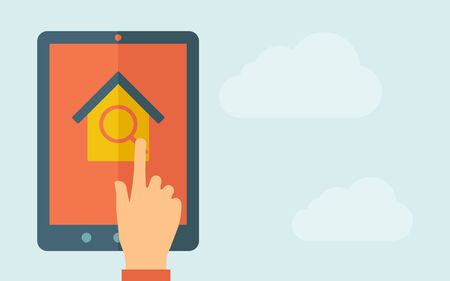 A hand is touching the screen of a tablet with house and window icon. A contemporary style with pastel palette, light blue cloudy sky background. Vector flat design illustration. Horizontal layout with text space on right part.