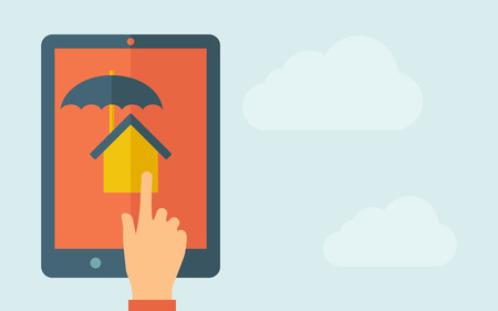 touchpad: A hand is touching the screen of a tablet with house umbrella icon. A contemporary style with pastel palette, light blue cloudy sky background. Vector flat design illustration. Horizontal layout with text space on right part.