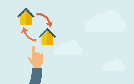 A hand pointing to little houses with arrow. A contemporary style with pastel palette, light blue cloudy sky background. Vector flat design illustration. Horizontal layout with text space on right part.