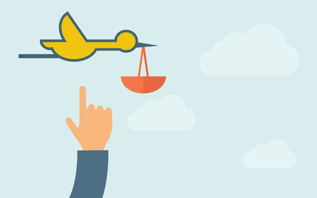 stork flying with bundle: A hand pointing to bird carrying bag icon. A contemporary style with pastel palette, light blue cloudy sky background. Vector flat design illustration. Horizontal layout with text space on right part.