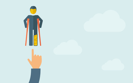 A hand pointing to man with crutches . A contemporary style with pastel palette, light blue cloudy sky background. Vector flat design illustration. Horizontal layout with text space on right part.