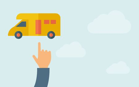 panel van: A hand pointing to van icon. A contemporary style with pastel palette, light blue cloudy sky background. Vector flat design illustration. Horizontal layout with text space on right part.
