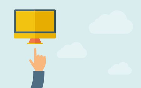 A hand pointing to monitor with blank screen. A contemporary style with pastel palette, light blue cloudy sky background. Vector flat design illustration. Horizontal layout with text space on right part.