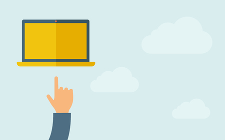 A hand pointing to blank screen of laptop. A contemporary style with pastel palette, light blue cloudy sky background. Vector flat design illustration. Horizontal layout with text space on right part. Ilustração