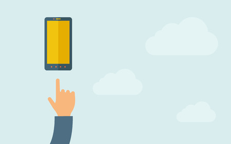 A hand pointing mobile phone with blank screen. A contemporary style with pastel palette, light blue cloudy sky background. Vector flat design illustration. Horizontal layout with text space on right part. Illustration