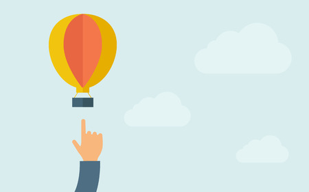 A hand pointing hot air balloon. A contemporary style with pastel palette, light blue cloudy sky background. Vector flat design illustration. Horizontal layout with text space on right part. Ilustrace