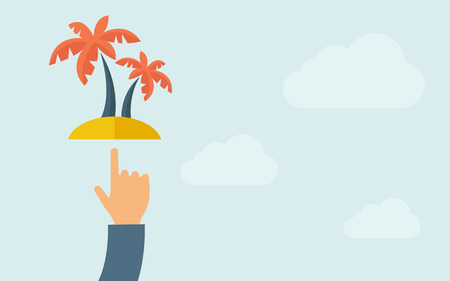 subtropical: A hand pointing palm tree. A contemporary style with pastel palette, light blue cloudy sky background. Vector flat design illustration. Horizontal layout with text space on right part.