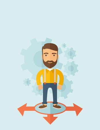 A young and good looking man standing in circle with 3 arrows on the ground, metaphor to starting or beginning to go straight, right or left. New Beginning cocept. A Contemporary style with pastel palette, soft blue tinted background. Vector flat design i