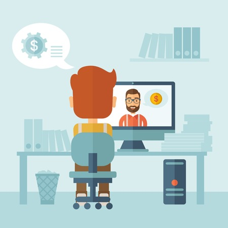 communication: Man sitting inside his office facing backward while the other man is inside the computer, communicate each other discussing about business by using the internet thru skype video. Communication concept. A Contemporary style with pastel palette, soft blue t