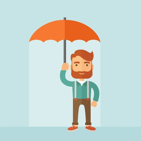 looking away: A successful and happy businessman standing with umbrella for his protection. A contemporary style with pastel palette, soft blue tinted background. Vector flat design illustration. Square layout.