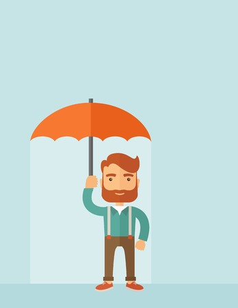businessman shoes: A successful and happy businessman standing with umbrella for his protection. A contemporary style with pastel palette, soft blue tinted background. Vector flat design illustration. Vertical layout with text space on top part. Illustration
