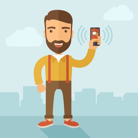 using smartphone: A man standing while holding smartphone with bubble, call and sends message via sms chat with internet wifi. Communication concept. A contemporary style with pastel palette, soft blue tinted background with desaturated clouds. Vector flat design illustrat