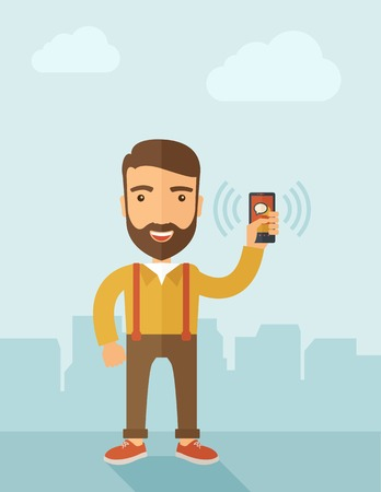 hombre caricatura: Un hombre de pie mientras sostiene teléfono inteligente con la burbuja, llamada y envía un mensaje a través de sms chat con internet wifi. Concepto de comunicación. Un estilo contemporáneo con la paleta de colores pastel, fondo pintado de azul suave con nubes desaturado. Vector diseño plano Illustrat