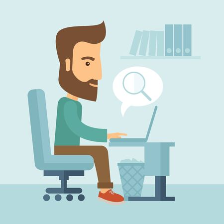 signifies: A buisnessman sitting infront of his laptop and bubble with magnifying glass signifies to search of information in computer network. Searching concept. . A contemporary style with pastel palette, soft blue tinted background. Vector flat design illustratio