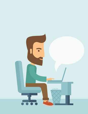 connectivity: A buisnessman sitting infront of his laptop and blank bubble still searching information in computer network. Searching concept. . A contemporary style with pastel palette, soft blue tinted background. Vector flat design illustration. Vertical layout with Illustration