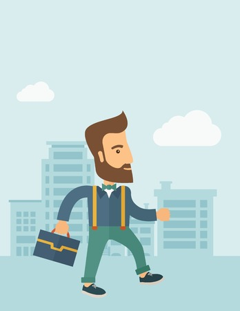good looking: Handsome, young and good looking man positively walking through the city streets to attend a business meeting carrying a briefcase. Business concept. A contemporary style with pastel palette, soft blue tinted background with desaturated clouds. Vector fla