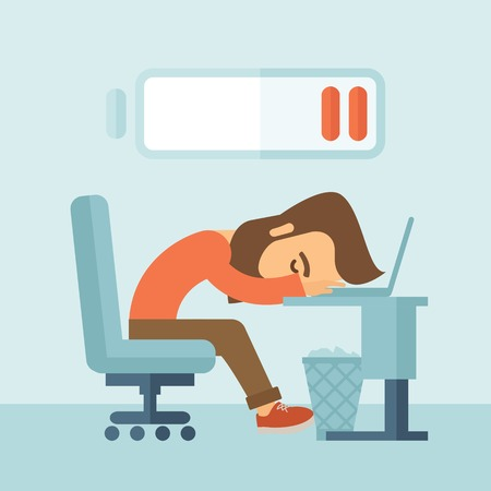 Young tired employee sitting, lying on his table with low power sign on the top of his head need rest, vacation, holiday. A contemporary style with pastel palette, soft blue tinted background. Vector flat design illustration. Square layout. 向量圖像