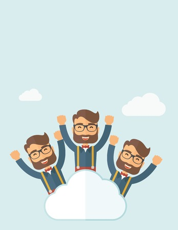 Three same face businessmen on top of cloud happy raising hands showing for their success in business career. Business growth. A contemporary style with pastel palette, soft blue tinted background with desaturated clouds. Vector flat design illustration.  Ilustração