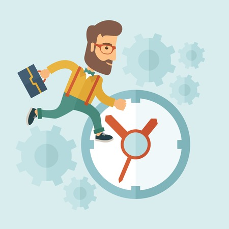 running late: Career man with his bag chasing running clock pursuing a deadline of his report. Time management concept. A contemporary style with pastel palette, soft blue tinted background. Vector flat design illustration. Square layout.