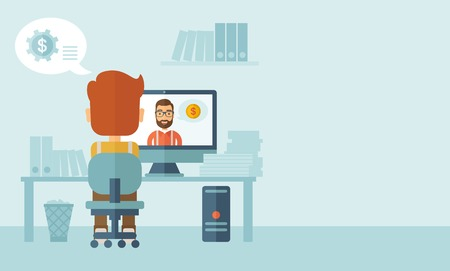 comunicar: Hombre sentado en su oficina mirando hacia atrás, mientras que el otro hombre está dentro de la computadora, se comunican entre ellos para discutir acerca de los negocios a través de internet a través de video de Skype. Concepto de comunicación. Un estilo contemporáneo con la paleta de colores pastel, azul suave t