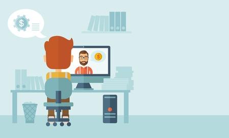 caucasians: L'uomo seduto nel suo ufficio di fronte all'indietro mentre l'altro uomo � all'interno del computer, comunicare l'un l'altro a discutere di affari tramite internet attraverso video di Skype. Concetto di comunicazione. Uno stile moderno con pastello tavolozza, morbido blu t