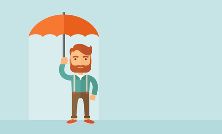 looking away: A successful and happy businessman standing with umbrella for his protection. A contemporary style with pastel palette, soft blue tinted background. Vector flat design illustration. Horizontal layout with text space in right side. Illustration