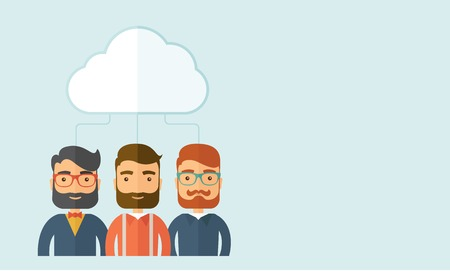 economic crisis: Three sad businessmen under the cloud  as their protection. Business and Economic crisis protection concept. A contemporary style with pastel palette, soft blue tinted background with desaturated clouds. Vector flat design illustration. Horizontal layout  Illustration
