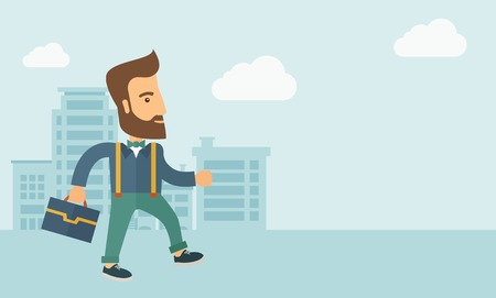 Handsome, young and good looking man positively walking through the city streets to attend a business meeting carrying a briefcase. Business concept. A contemporary style with pastel palette, soft blue tinted background with desaturated clouds. Vector fla